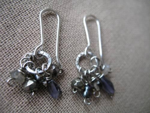Earrings labradorite iolite pearls pyrite angelite